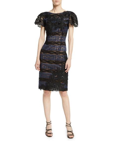 Jovani Lace Short-Sleeve Sheath Dress