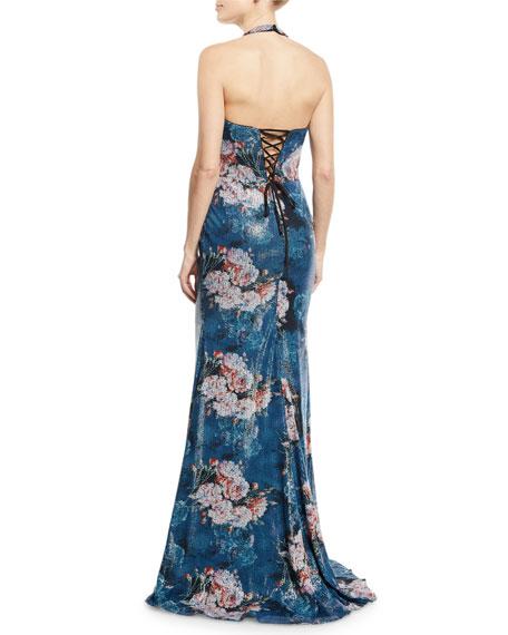 Floral Sequin Appliqué Halter Gown