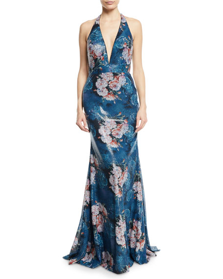 Floral Sequin Applique Halter Gown