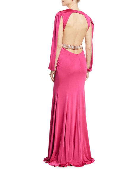 Jersey Gown w/ Beaded Belt & Cuffs