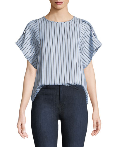 Striped Button-Back Buckle Top