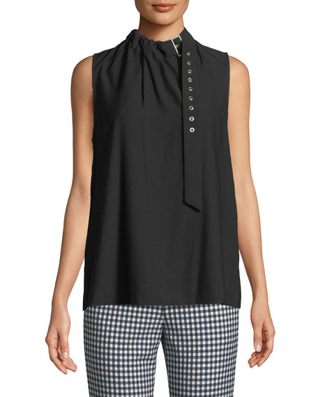 Sleeveless Twill Buckle Top