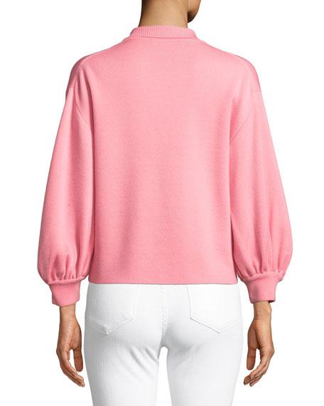 Merino Wool Blouson-Sleeve Polo Top