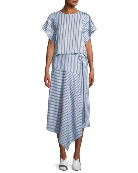 Striped Shirting Asymmetric Midi Skirt