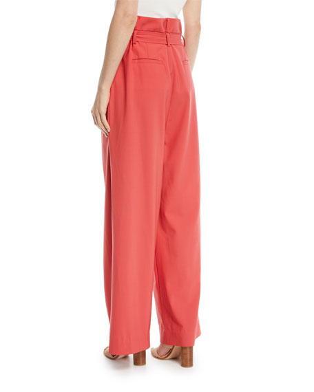 Stella Belted High-Rise Tropical Wool Pants