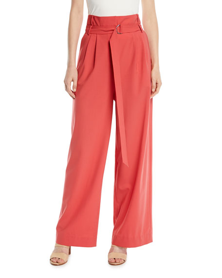 Tibi Stella Belted High-Rise Tropical Wool Pants