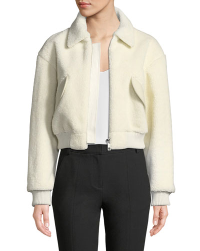 Gus Faux-Shearling Cropped Zip-Front Jacket