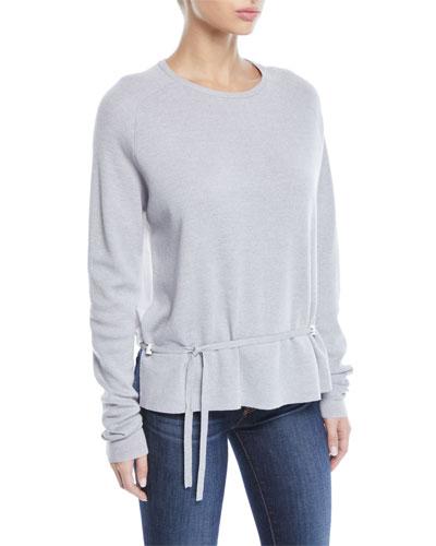 Merino Wool Poplin-Back Pullover Sweater