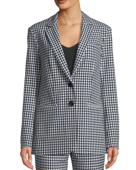 Gingham Split-Back Menswear Blazer