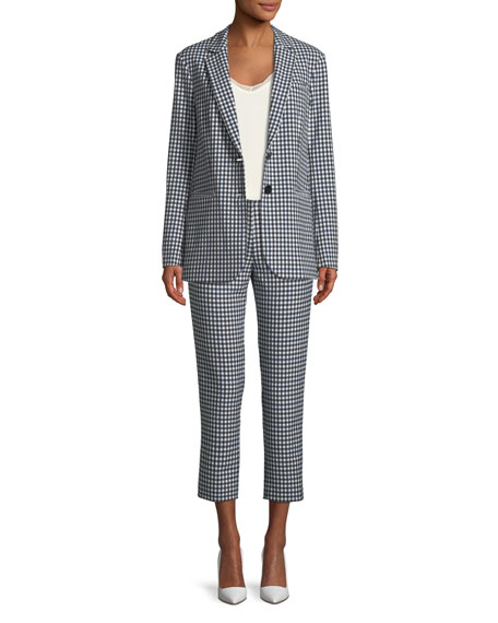 Gingham Suiting Cropped Straight-Leg Pants