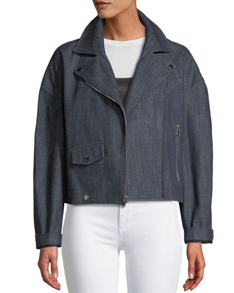 Cropped Raw Denim Moto Jacket