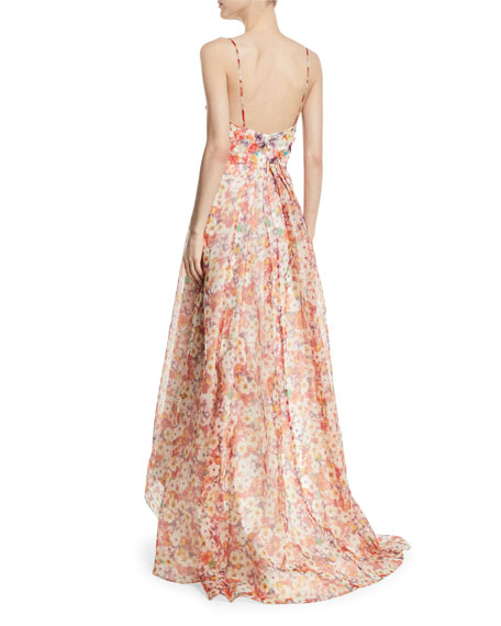 Beaded Floral Organza High-Low Gown