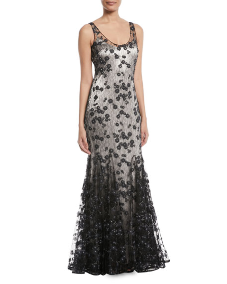 Sleeveless Lace Godet Slip Gown