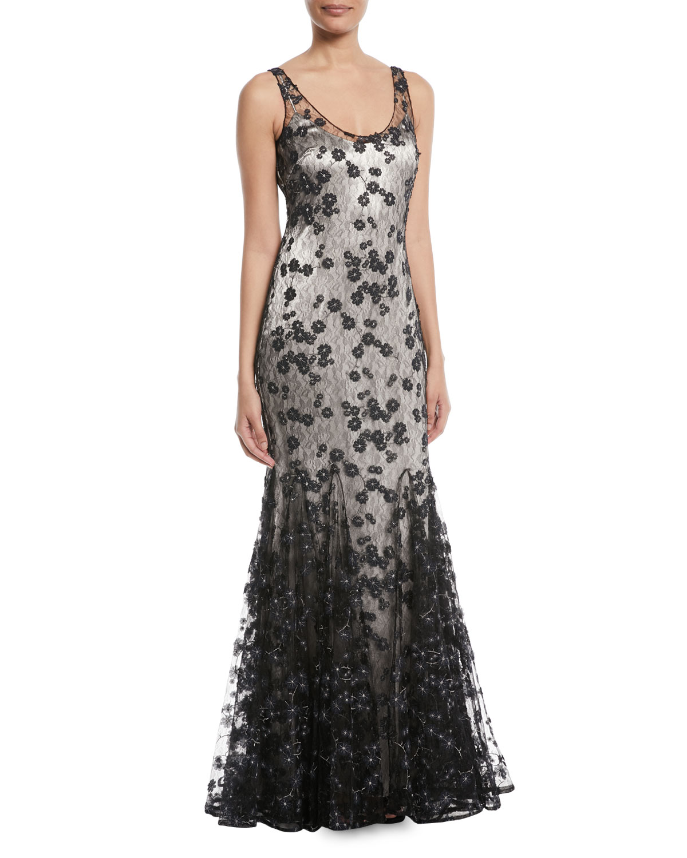 Badgley Mischka Sleeveless Lace Godet Slip Gown | Neiman Marcus