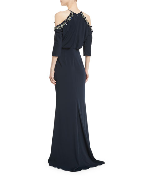 Embellished Cold-Shoulder 3/4-Sleeve Blouson Gown