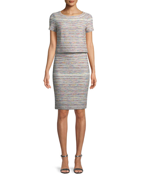 Short-Sleeve Flag Tweed Dress