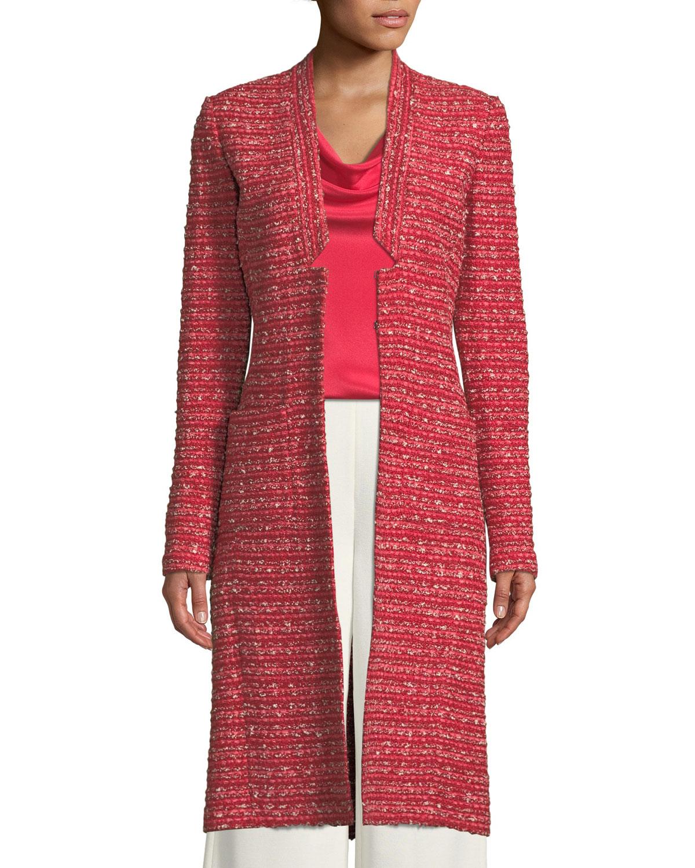 St John Collection Boucle Striped Knit Long Jacket