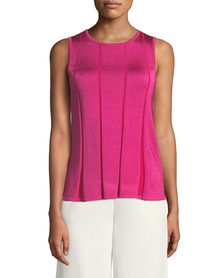 Plaited Fit & Flare Sleeveless Sweater, Fuchsia