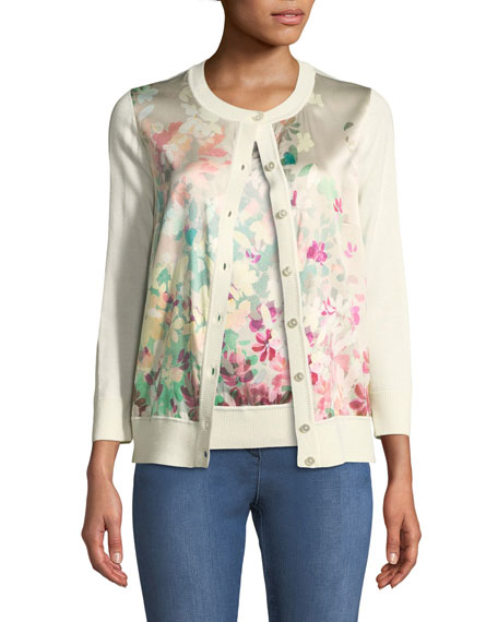 Long-Sleeve Button-Front Floral-Print Cardigan