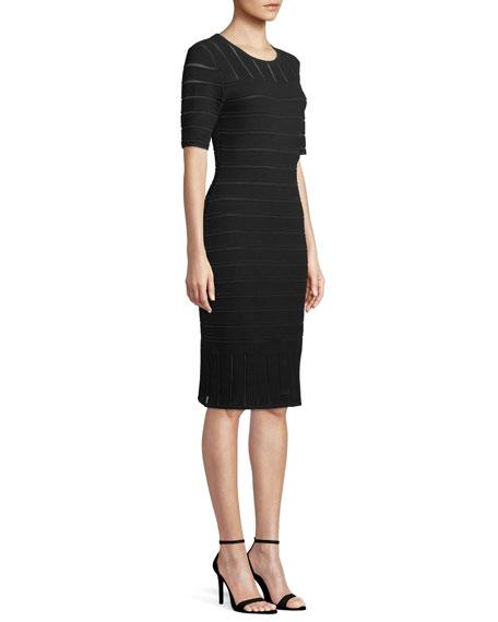 Short-Sleeve Ottoman Illusion Dress
