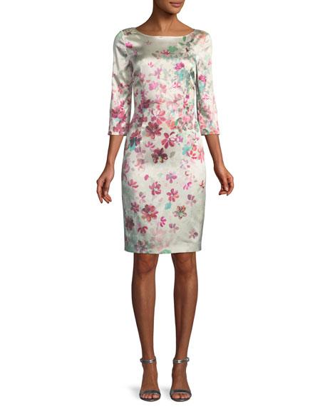 Brushstroke Floral Sheath Dress
