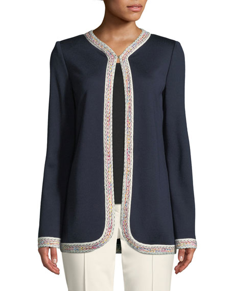 Milano Knit Jacket w/ Contrast Tweed Trim