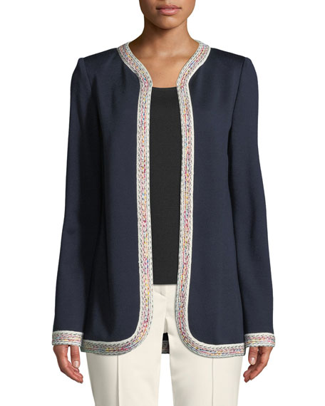 Milano Knit Jacket w/ Contrast Tweed Trim