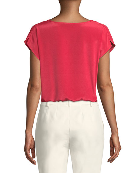 Cap-Sleeve Draped-Neck Silk Top