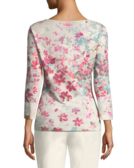 3/4-Sleeve Floral-Print Jersey