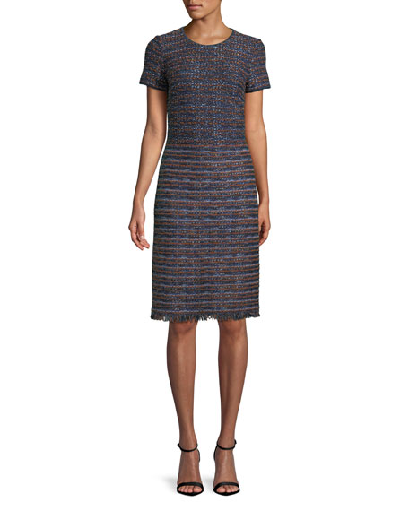 Short-Sleeve Ombre Ribbon Tweed Knit Dress