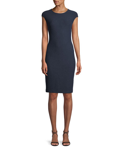 Ana Cap-Sleeve Boucle Knit Sheath Dress