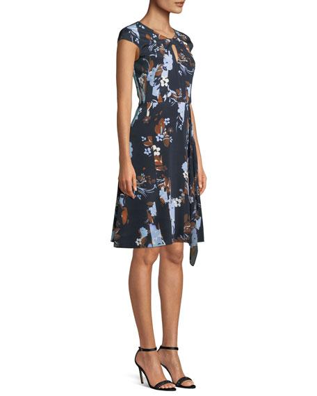 Cap-Sleeve Painted Floral-Print Dress