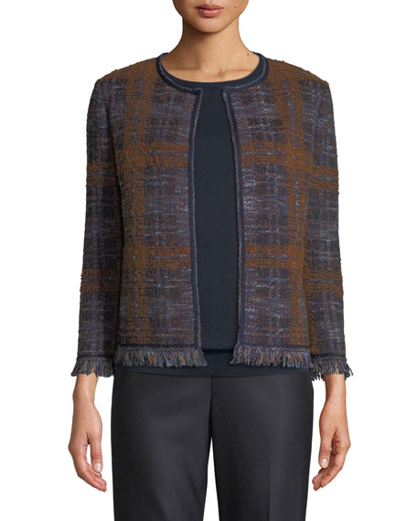 Plaid Boucle Jacquard Knit Jacket