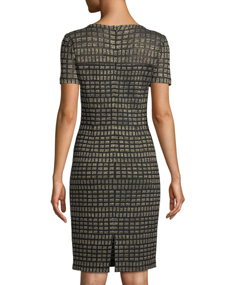Short-Sleeve Shimmer Rectangle Jacquard Cocktail Dress