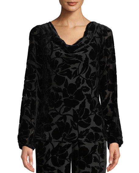 St. John Collection Velvet Burnout Long-Sleeve Blouse