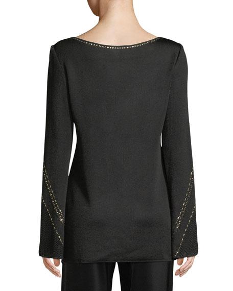 Geometric Pointelle Jacquard Knit Sweater