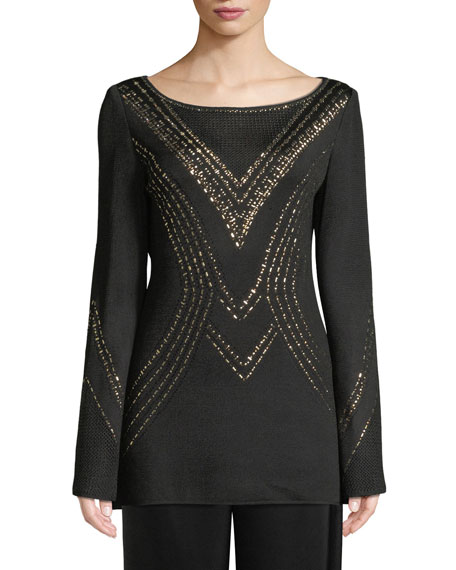 Geometric Pointelle Jacquard Knit Sweater