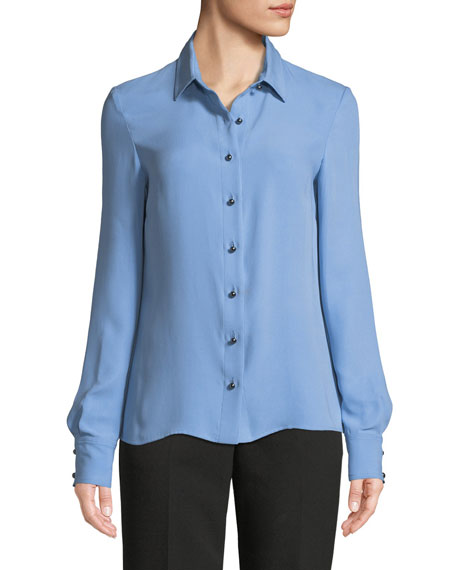 Long-Sleeve Silk Georgette Blouse
