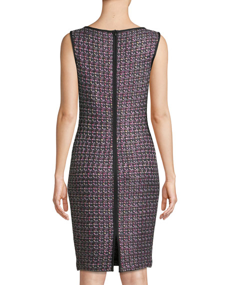 Sleeveless Painterly Sheen Tweed Knit Sheath Dress