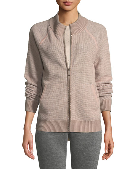 St. John Collection Sparkle Waffle-Knit Bomber Jacket and