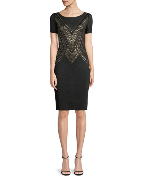 St. John Collection Layered Pointelle Jacquard Knit Cocktail