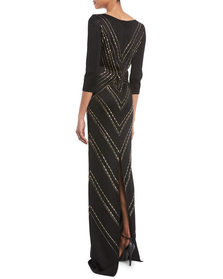 3/4-Sleeve Layered Pointelle Jacquard Gown