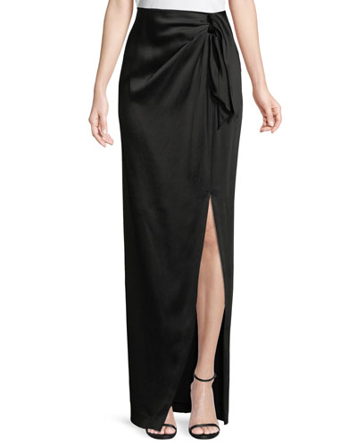 Liquid Crepe Draped Skirt W/ Side Slit
