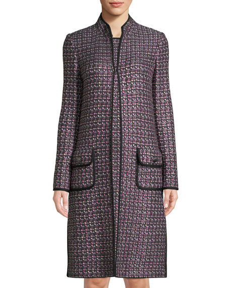 Painterly Sheen Tweed Knit Jacket