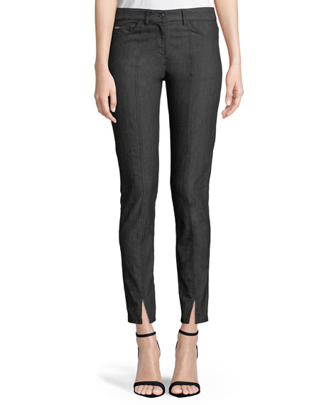 St. John Collection Bardot Slim-Fit Front-Slit Jeans