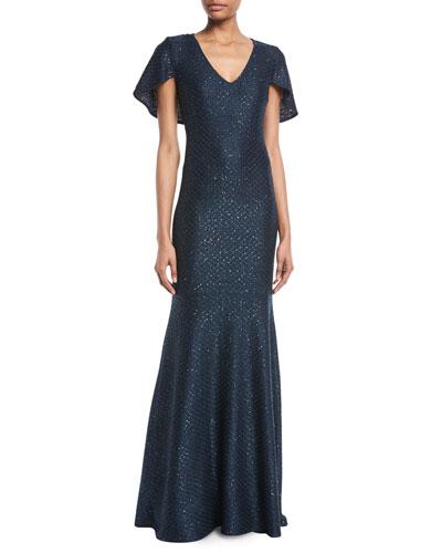 Shimmer Sequined V-Neck Cape Gown