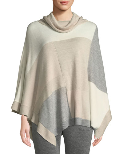 Cashmere-Blend Patched Asymmetric Poncho