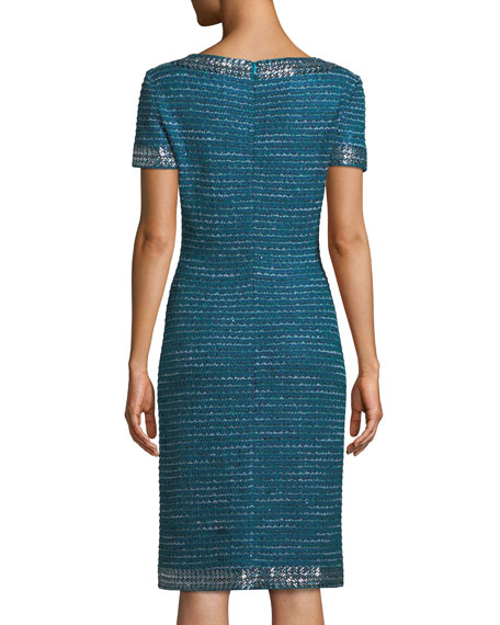 Sequined Sheen Tweed Sheath Cocktail Dress