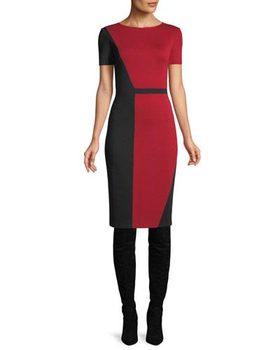 Slanted Colorblock Milano Dress