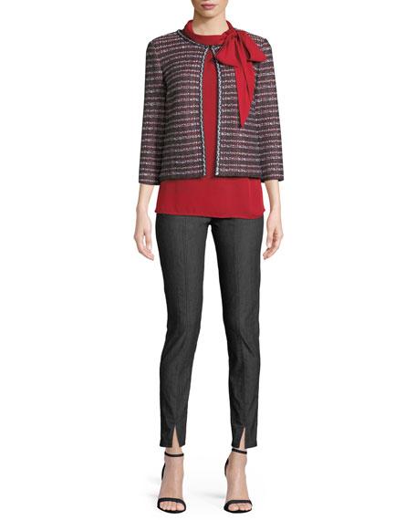 Novelty Tweed Knit 3/4-Sleeve Jacket